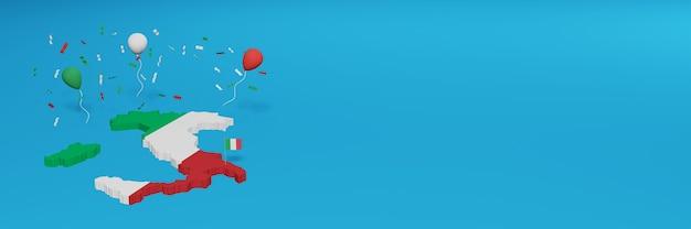 Kaart van italië voor sociale media en website-achtergrondomslag om de nationale winkeldag en de nationale onafhankelijkheidsdag in 3d-weergave te vieren