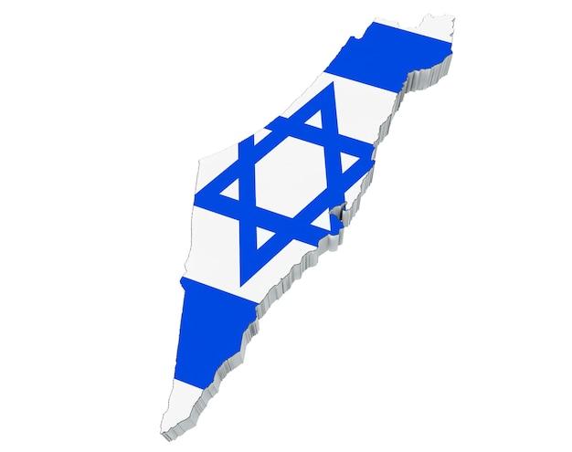Kaart van japan in de vlagkleuren van israël op een witte achtergrond