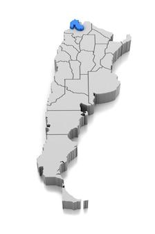 Kaart van jujuy provincie, argentinië