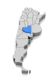Kaart van la pampa provincie, argentinië