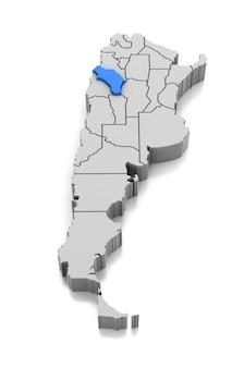 Kaart van la rioja provincie, argentinië