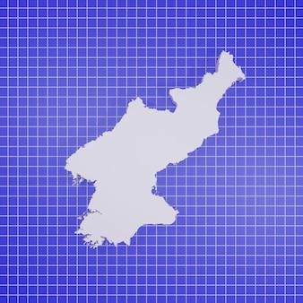 Kaart van noord-korea rendering