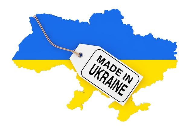 Kaart van oekraïne met vlag en gemaakt in oekraïne sale tag op een witte achtergrond. 3d-rendering