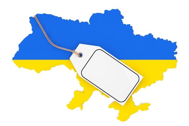 Kaart van oekraïne met vlag en witte lege mockup sale tag op een witte achtergrond. 3d-rendering