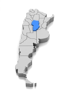 Kaart van provincie cordoba, argentinië