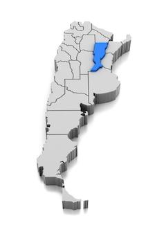 Kaart van santa fe provincie, argentinië