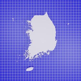 Kaart van zuid-korea rendering