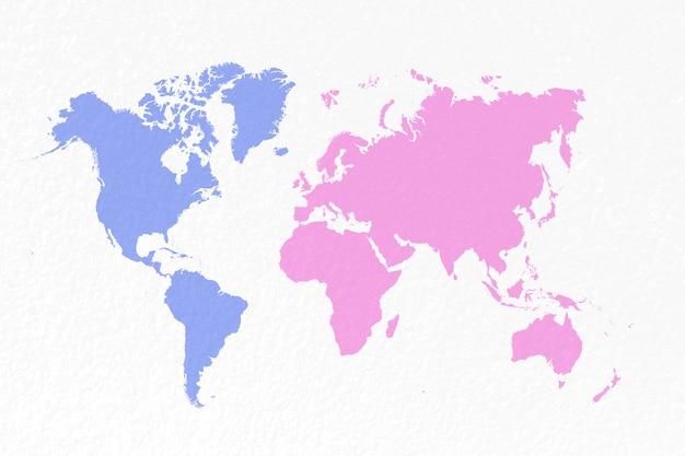 Kaartwereld op pastel blauwe en roze papieren achtergrond