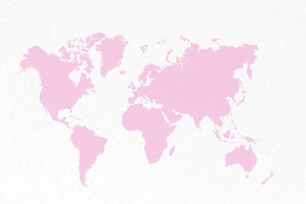 Kaartwereld op pastel roze achtergrond