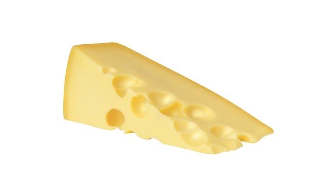 Kaas geïsoleerd op een witte achtergrond. een stuk kaas met grote gaten