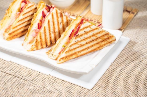 Kaas vegetarisch gegrilde sandwich geroosterde grill ontbijt item bovenaanzicht in plaat witte achtergrond. lekkere vegetarische cheesy groente met groene chutney sandwich