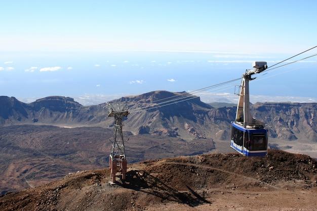 Kabelbaan op de vulkaan teide in het eiland van tenerife