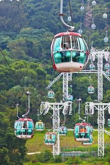 Kabelbanen over tropische bomen in hong kong