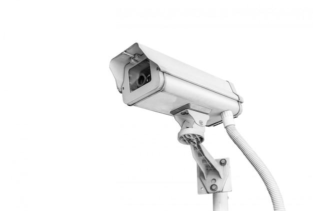 Kabeltelevisie-camera op wit wordt geïsoleerd dat