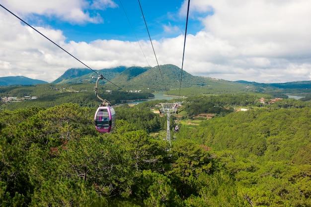Kabelwagen met landschaps groen bos en berg en blauwe hemel