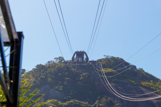 Kabelwagenpost in morro da urca van rood strand in rio de janeiro wordt gezien dat.