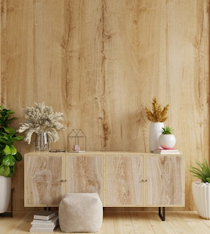 Kabinet in moderne woonkamer met decoratie op houten muurachtergrond, het 3d teruggeven