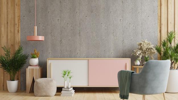 Kabinet tv in moderne woonkamer met decoratie op betonnen muur achtergrond, 3d-rendering