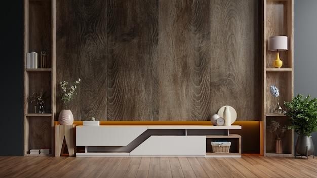 Kabinet tv in moderne woonkamer met decoratie op houten muur 3d-rendering