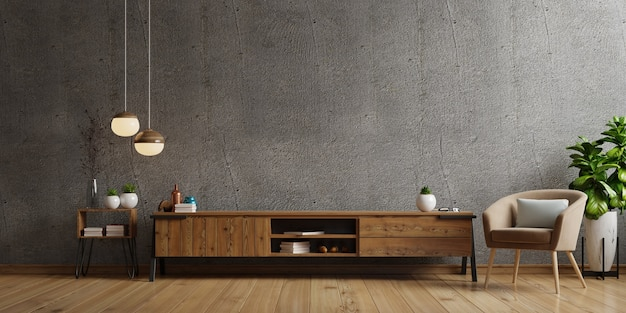 Kabinet-tv in moderne woonkamer met fauteuil, lamp, tafel, bloem en plant op betonnen muur. 3d-weergave