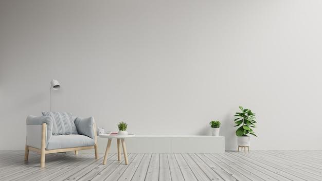 Kabinet tv in moderne woonkamer met leunstoel op witte muurachtergrond.