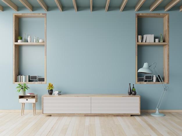 Kabinet-tv op de houten vloer in de moderne woonkamer.