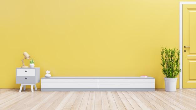 Kabinet voor tv of plaatsvoorwerp in moderne woonkamer met lamp, lijst, installatie op gele muurachtergrond, het 3d teruggeven