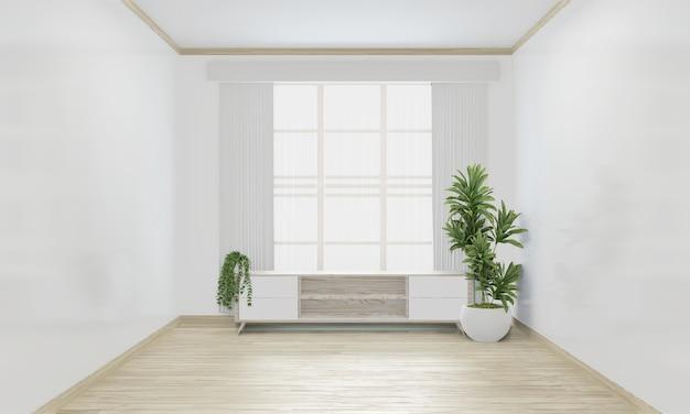 Kabinet woon japans minimaal ontwerp op het interieur van de lege ruimte. 3d-weergave