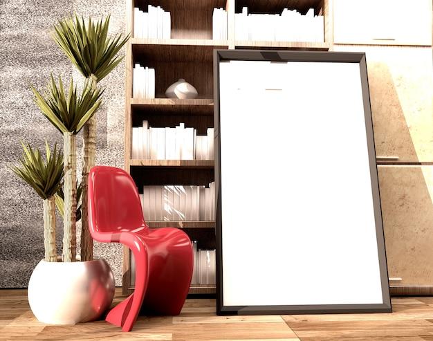 Kader en plastic rode stoel en lamp in houten vloer op lege witte muurachtergrond.