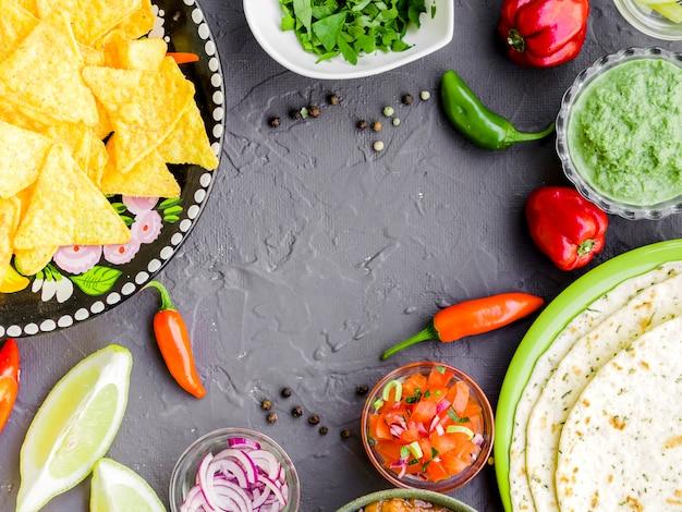 Kader van traditioneel mexicaans voedsel