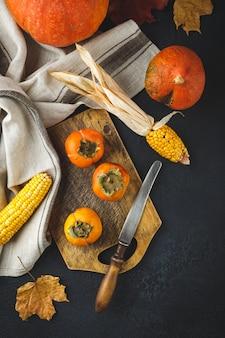 Kaki, pompoen, maïs