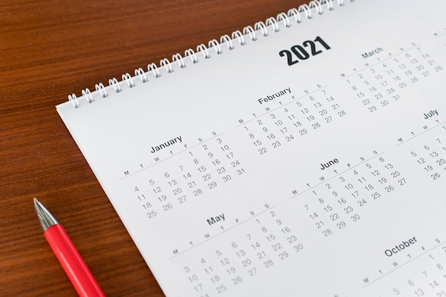 Kalender 2021 voor briefpapier met hoge weergave