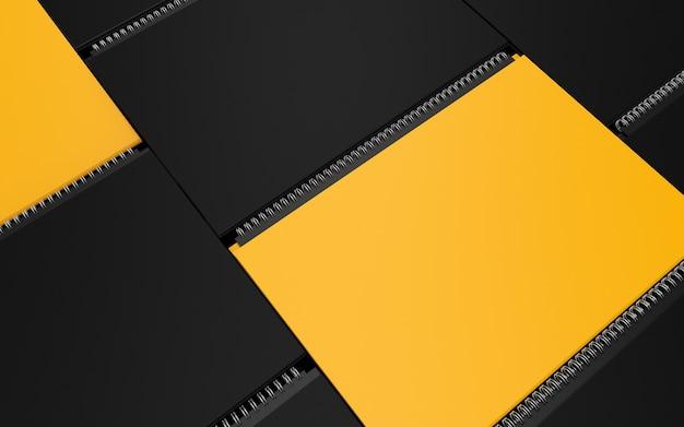 Kalender cover mockup set moderne weergave sjabloon samenstelling in zwart en geel met metalen veer