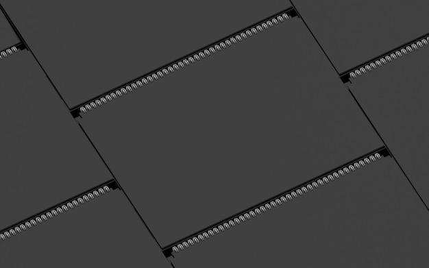 Kalender cover mockup sjabloon samenstelling met metalen veer vouwen lay-out isometrische collectie