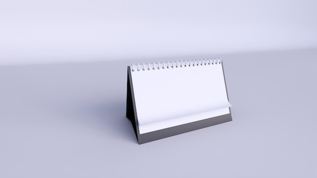 Kalender met blanco pagina's en spiraal. desktop horizontale papieren agenda vooraanzicht