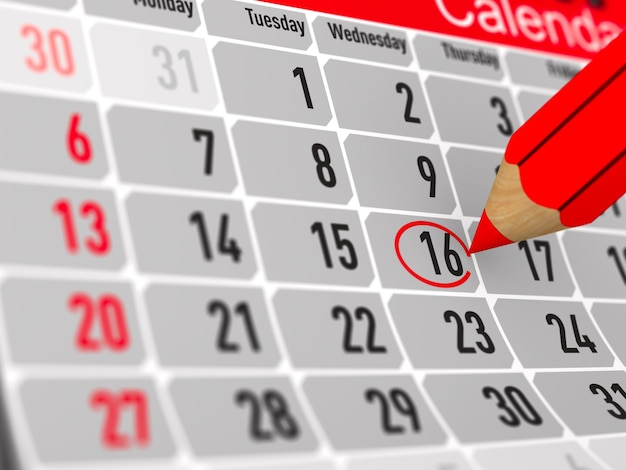 Kalender met genoteerde datum. afgelegen, 3d-rendering