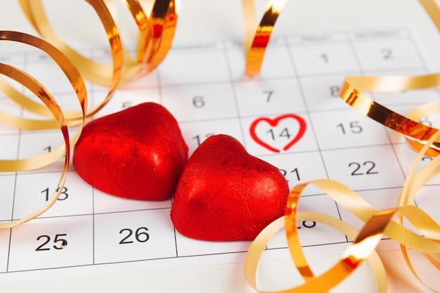 Kalender met st. valentine-datum