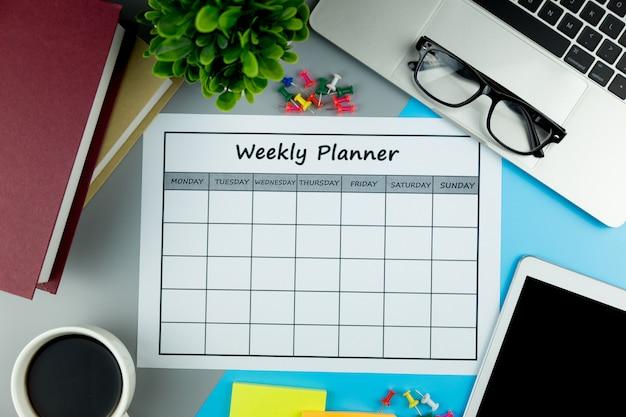 Kalender weekplan zakendoen of activiteiten met in een week.