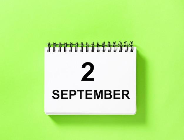 Kalenderboek voor datum. 2 september