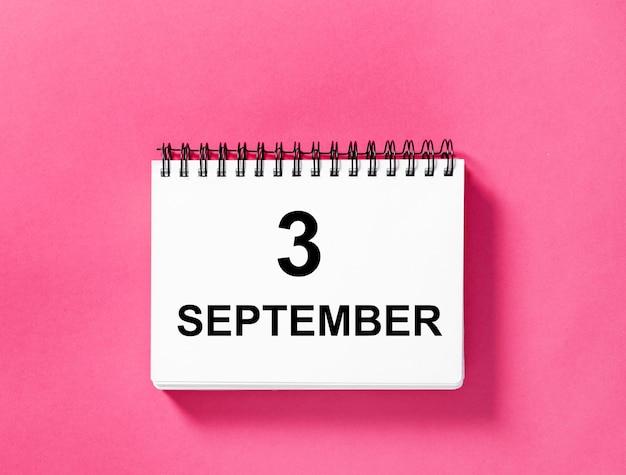 Kalenderboek voor datum. 3 september
