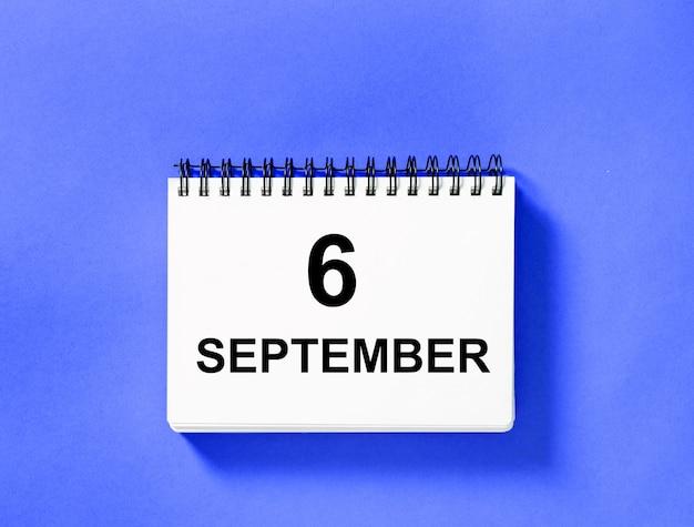 Kalenderboek voor datum. 6 september