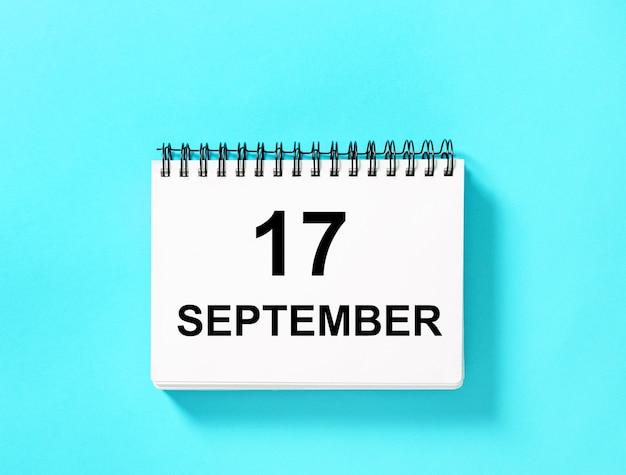 Kalenderboek voor datum. kalenderpagina 17 september
