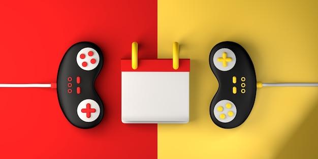 Kalendermodel met gameconsole-controllers. gamen. ruimte kopiëren. 3d illustratie.