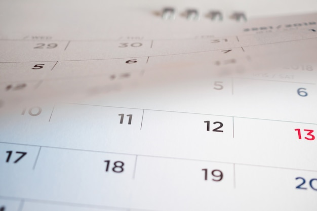 Kalenderpagina flipping blad close-up achtergrond