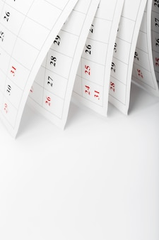 Kalenderpagina's sluiten zakelijke tijd concept