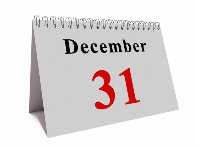 Kalenderpagina van 31 december maand. eind concept van het jaar