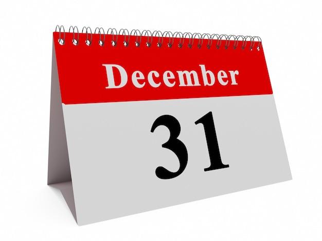Kalenderpagina van 31 december maand. en van jaar concept
