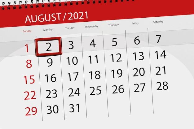 Kalenderplanner voor de maand augustus 2021, deadline dag, 2, maandag.