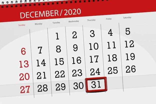 Kalenderplanner voor de maand december 2020, dag van de deadline, 31, donderdag.