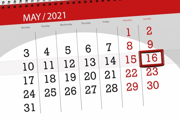 Kalenderplanner voor de maand mei 2021, deadline dag, 16, zondag.